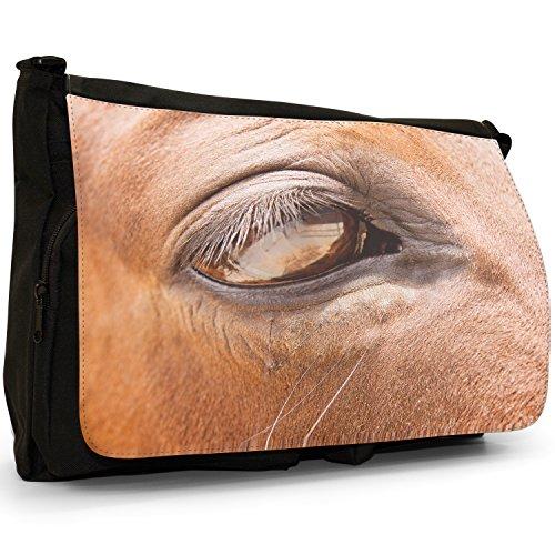 Fancy A Bag Borsa Messenger Nero Herd Of Horses Running Horse's Eye