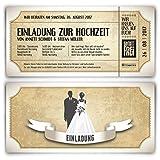 Einladungskarten zur Hochzeit (20 Stück) als Eintrittskarte im Vintage Ticket Look Hochzeitskarten in Weiß