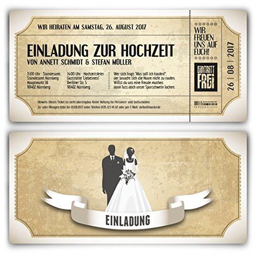 Einladungskarten zur Hochzeit (80 Stück) als Eintrittskarte im Vintage Ticket Look Hochzeitskarten in Weiß