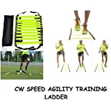 CW Brand New Speed Agility Ladder 4,6,8 Meter Long With Adjustable Flat Rungs With Carry Bag Quickness Training Faster Footwork & Better Movement Skills ,Exercise Workout Ladder For Football