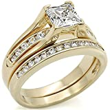 New Improved! Princess Cut 6mm Flawless Lab Diamonds Ring and Half Eternity Channel Set Band. Never Tarnish. Stamped 316. Outstanding Quality Engagement Wedding Set. 24K Gold Electroplated.