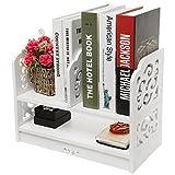 MyGift Weiß durchbrochen freistehend Bücherregal/Schreibtisch Top Organisation Caddy/Stationärer Stauraum