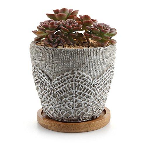 T4U 9.6CM Zement Series Lace Design Sukkulenten Töpfe Kaktus Pflanze Töpfe Mini Blumentöpfe mit Bambus-Untersetzer