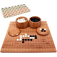 Chinese Go Chess 2 en 1 Go Game Juegos de mesa, 2 jugadores Go Game Set Weiqi Educational Games, Bamboo Chess Board 19x19 Grid, Go Chess Board Game Set, para jugadores de ajedrez y principiantes
