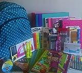 * Back to School * BLEU Sarcelle Sac à dos avec toutes les Fournitures scolaires nécessaires pour junior High School et haute