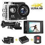 Yue Ying Action Camera Ultra HD 4K 16MP,LCD 5 cm, fino a 30m sott'acqua, Videocamera sportiva ad ampio angolo di 170° con 2 Batterie Ricaricabili da 900mAh e Kit di Fissaggio, Videocamera Sportiva DV per Attività All'aperto, Moto e Bici.