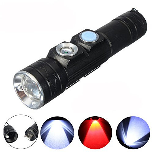 Global Elfeland XP-E 5Modes USB Rechargeable Mini LED lampe de poche avec lumière rouge