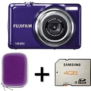 Fujifilm FinePix JV300 Purple + Case and 4GB Memory Card (14MP, 3x Optical Zoom) 2.7 inch LCD Screen