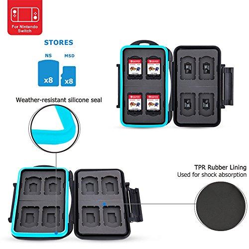 PROfoto.Trend /JJC Memory Card Case für 8 x Nintendo Switch Game Karten Sony Playstation Vita Speicherkarten und 8 x Micro SD/TF Karten (Schwarz) (Snap-on-Ösen)