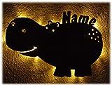 Schlummerlicht24 LED Deko Schild Lampe ' Hippo Flußpferd ' mit Name nach Wunsch, ideales Geschenk zum Zimmer verschönern, handgemacht für Jungen und Mädchen (Mit Zugschalter)