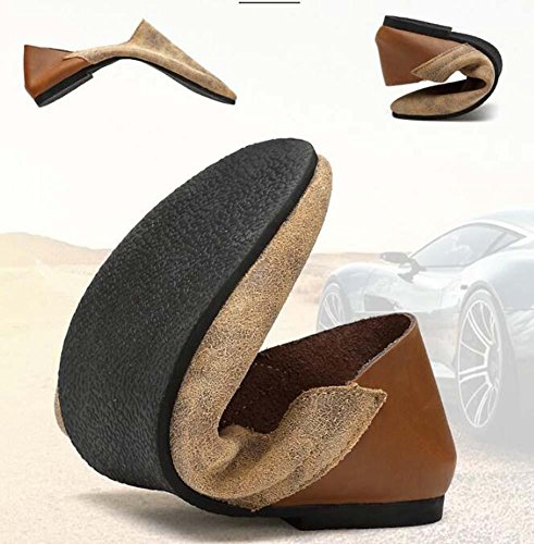 Pumpe Männer Leder Lässige Schuhe Schlüpfen Loafer Oxford England-Stil Farbübereinstimmung Atmungsaktiv Anti-Rutsch Lazy Schuhe Fahrschuhe Pedal Schuhe Eu Größe 38-46 Brown