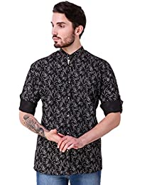 Lafantar Men's Mandarin Collar Casual Printed Shirt (vxt32,Black)