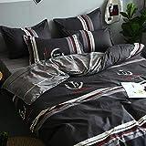 nohbi Classic Duvet Cover Set,Komfortabler und strapazierfähiger Bettbezug aus Baumwolle,Bettbezug mit Kissenbezug und Bettlaken-Schwarzer Bettbezug 87 * 94 * 90 * 98 Zoll,Superweiches Bettbezug Set