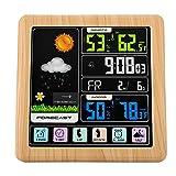 Station Météo, LCD Coloré Tactile Station Météo Numérique Prévisions Météo Multifonctionnelle sans Fil avec Radio Réveil, Thermomètre Hygromètre Intérieur Extérieur.(Grain de Bois)