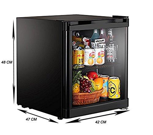 Kitchoff Black 50 Litre Aluminium Glass Door Mini Refrigerator For