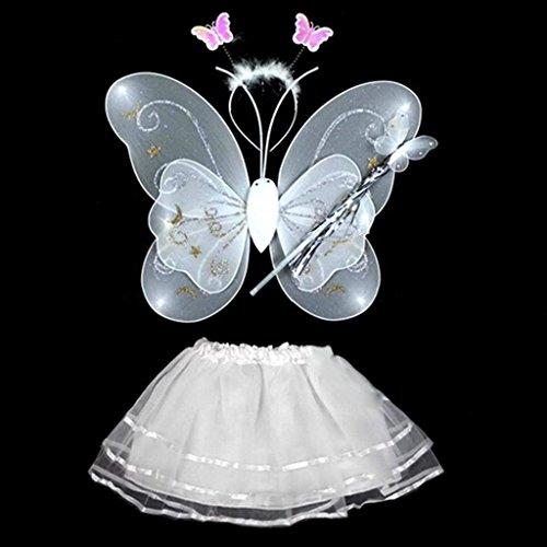 Huayang Schöne Schmetterlings Flügel Stab Stirnband Kleid Mädchen feenhafte Prinzessin Schule zeigen Bühnenkostüm 4 (Flügeln Prinzessin Für Mädchen)