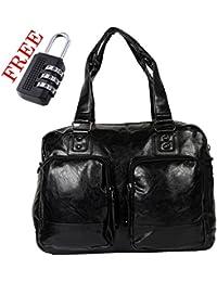 XENSA Genuine LEATHERite Stylish Large Travel Tote Oversized DUFFLE Luggage Bag 45 LTR-Black-#Shetty Group - B07CKN3R3K