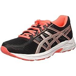 Asics Gel-Contend 4, Zapatillas de Deporte Mujer, Negro (Black/silver/flash Coral), 38 EU