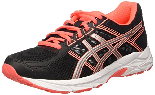 ASICS Gel-Contend 4, Scarpe Running Donna, Nero (Black/Silver/Flash Coral), 40 EU