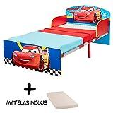 BEBEGAVROCHE Kinderbett Holz und Metall Cars Disney + Matratze