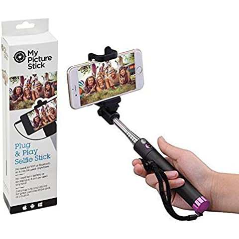 mypicturestick extensible selfie stick – monopié telescópico | no necesita pilas | mano con el botón disparador remoto para iPhone 6 Plus 5 5S 4 4S, Samsung Galaxy S7 S6 edge S5 y más otros smartphones | no necesita Bluetooth | color