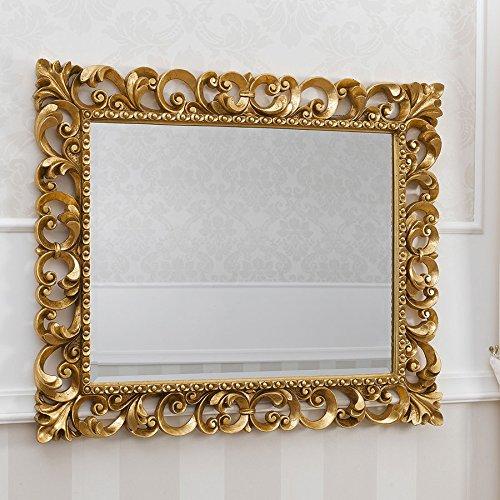 Simone guarracino specchiera stile barocco cornice traforata foglia oro specchio molato cm 107 x 87