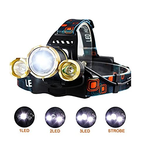 Fanme LED Headlamp 3000LM 4 Modes Super Bright Waterproof Headlight 3 CREE XM-L2 T6 LED with Rechargeable Batteries and Wall Charger for Hiking Camping Riding Fishing Hunting