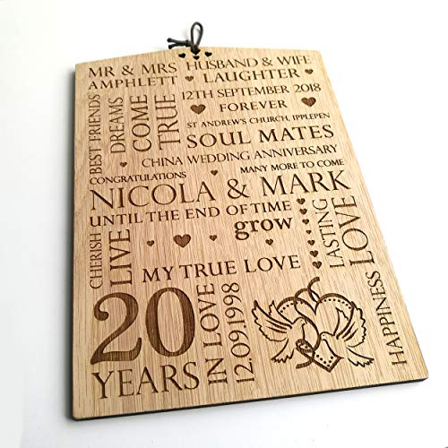 LoveThis** Personalised Wedding Wooden Oak Plaque Sign - Silver Gold Diamond Ruby