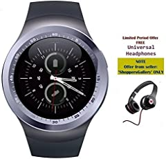 captcha Y11 Smartwatch with Sim/Memory Card Slot and Extra Mega Bass Headphones for Android or iPhone Devices (Colour May Vary)