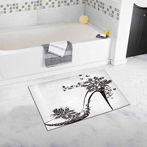Scarpe con Tacco Alto Decorato con Fiori e Farfalle Tappetino da Bagno Morbido in Gomma Antiscivolo per Bagno