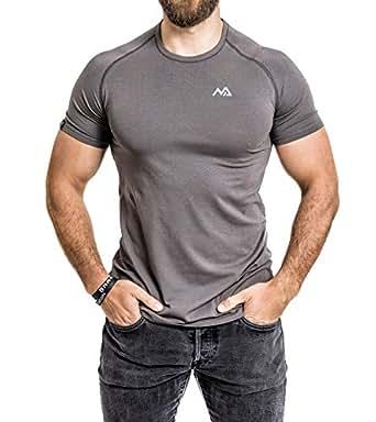 Natural Athlet Modal T-Shirt S Herren Kurzarm mit Rundhals Besonders Atmungsaktiv Tailliert Slim Fit für Sport Fitness Freizeit und Gym Aktivität Baumwolle Elasthan in Grau