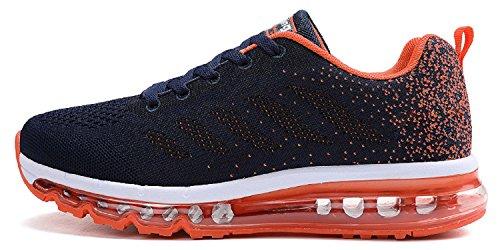 tqgold Unisex Herren Damen Sportschuhe Laufschuhe mit Luftpolster Turnschuhe Profilsohle Sneakers Leichte Schuhe (Dunkelblau Orange,46 EU)