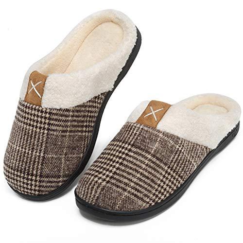 Pantofole Uomo Peluche Memory Foam Ciabatte Antiscivolo Caldo da Casa Interno Esterno Pantofole