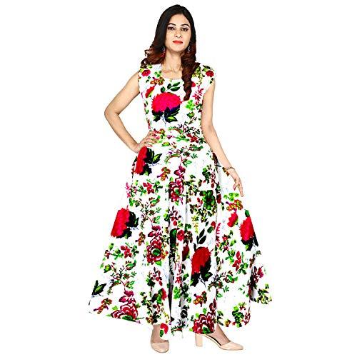Mudrika Women's Jaipuri Floral Print Rayon Long Maxi Dress Midi (FR_3900, Multicolour, up to 44 -XXL, Free Size)