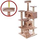XL Kratzbaum M&G Techno® Katzenkratzbaum Katzenbaum NATUR SISAL PLÜSCH Kletterbaum Katzen mit Spiel und Kuschelmöglichkeiten