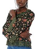 Mer's Style - Blusa Camiseta con Encaje y Manga Larga Mujer, Verde