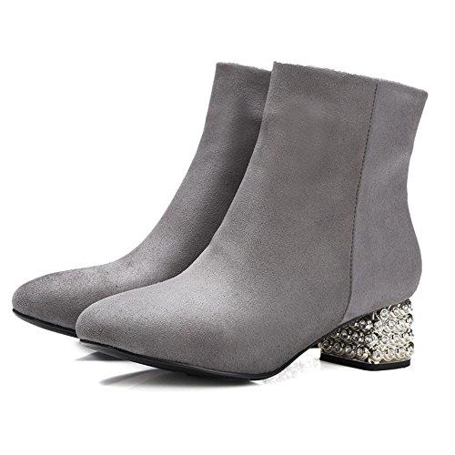 TAOFFEN Damen Mode-Event Fransen Spitze Toe Blockabsatz Reißverschluss Knöchelriemchen Grau