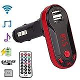 TianranRT Drahtlos FM Sender MP3 Player Freisprecheinrichtung Auto Kit USB TF SD Fernbedienung (Rot)