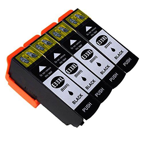 Ouguan Compatibile per Cartucce Epson 33XL 33 per Epson XP-640 XP-530 XP-830 XP-645 XP-540 XP-900 XP-630 XP-635 XP-7100-4 Nero