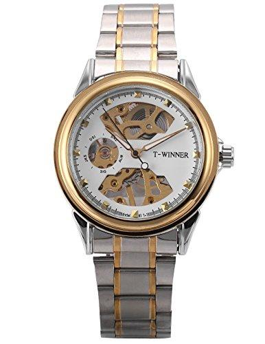 EASTPOLE Herren Mechanische Armbanduhr Skelett Silber Uhr Edelstahl Band + EASTPOLE Box PMW480