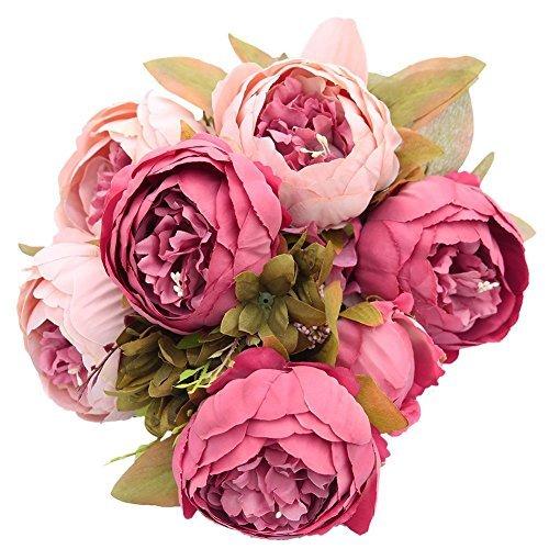 er Pfingstrosen-Strauß, Kunstblumen aus Seide, Bouquet für Zuhause oder als Hochzeitsdekoration Dunkelrosa (Blumen Bouqet)
