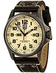 Luminox Atacama Campo día Negro carbono fibra Dial piel de color marrón reloj para hombre 1927