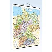 Postleitzahlenkarte Deutschland mit Bundesländer und Metallleisten: Maßtab: 1:800.000 inkl. PLZ- Register