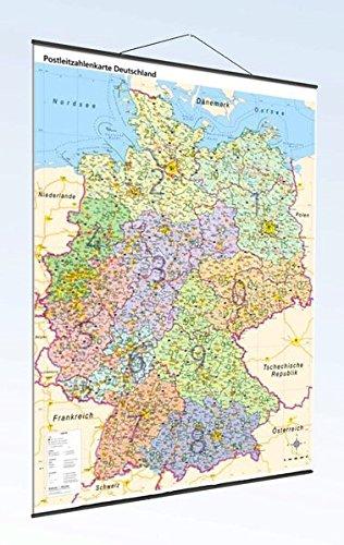 Postleitzahlenkarte Deutschland mit Bundesländern und Metallleisten, DIN A0: Maßstab: 1:800.000, inkl. PLZ-Register, Auflage 2017