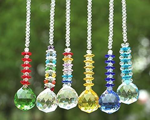 Yier 30mm Lustre Crystal Prisms Window Rainbow Maker Suncatcher Paquet de 6