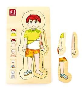"""Holzpuzzle Anatomie Junge, 29-tlg. Puzzle, spielerisches """"erpuzzeln"""" des eigenen Körpers auf verschiedenen Ebenen (Skelett, Muskeln, Blutbahn und innere Organe), schult auch die Motorik der Kinder, ab 3 Jahre"""