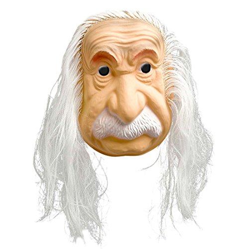 Amakando Einstein Maske mit Haaren Opa Faschingsmaske Wissenschaftler Karnevalsmaske Physiker Gesichtsmaske Fasching Alter Mann Lehrer Berühmtheiten Mottoparty Accessoire Karnevals Kostüme Zubehör
