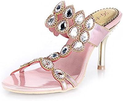 unicrystal Mujer Estampado De Agua De Brillantes Stiletto Sandalias Fiesta Prom Noche Zapatos