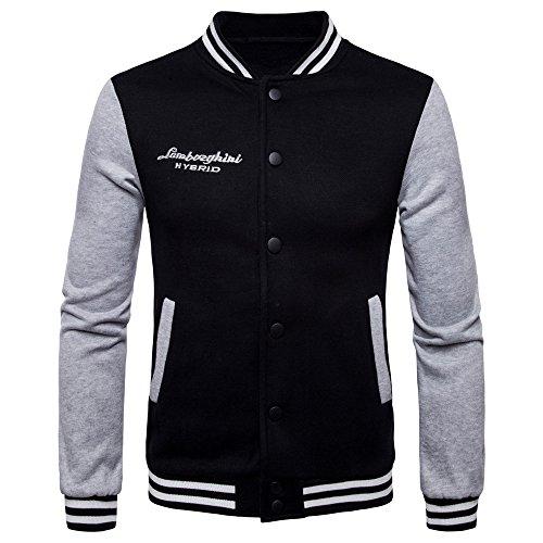 COCO clothing Beisbol Chaqueta Hombre Cazadoras Universidad Casual Jacket  Patchwork Sudaderas Abrigos Juvenil (negro 691cce9309a