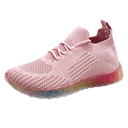 HDUFGJ Damen Sneaker Regenbogenfarbe weicher Boden Laufschuhe Fliegendes Weben Freizeitschuhe rutschfeste Bequem Leichtgewicht Laufschuhe Faule Schuhe Turnschuhe fitnessschuhe36 EU(Rosa)